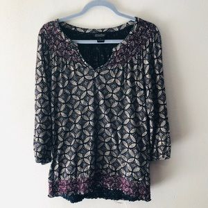 LUCKY BRAND 3/4 SLEEVE PEASANT TOP